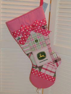 Pink John Deere Handmade Christmas Stocking. $25.00, via Etsy.