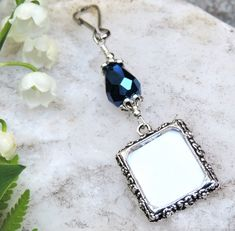 Something blue. Bridal bouquet photo charms with Blue teardrop crystal. Brides And Bridesmaids, Bridesmaid Bouquet, Wedding Bouquets, Something Blue Wedding, Wedding Blue, Spring Wedding, Small Picture Frames, Wedding People, Photo Charms