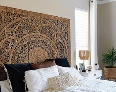 Medallion Wall Art Mounted Wood Carving Lotus Design with | Etsy Wood Carved Headboard, Upholstered Wall Panels, Reclaimed Wood Headboard, Rattan Headboard, Carved Wood Wall Art, Hand Carved, King Size Bed Headboard, Bohemian Headboard, Camas King