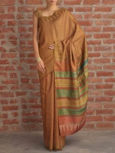 Olive-Yellow Stripe Tussar Silk Saree