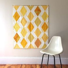 yellow-and-white diamond quilt