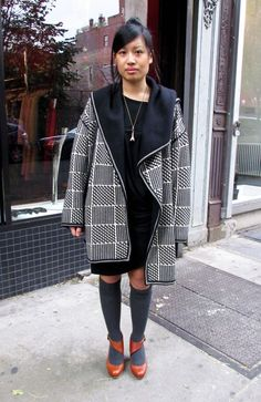 Oversized coat in graphic pattern, black dress, grey knee-highs, melon-coloured strapped heels.  20121206_0141-665x1024.jpg 665×1024 pixels