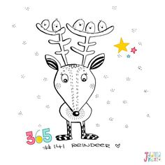 Doodle 141/365: Reindeer #365doodleswithjohannafritz  This little reindeer is happy about the company of those tiny birds. They fly around have seen a lot and many stories to share. Just as every single one of us right? I am working on a huge project behind the scenes. And birds will definitely be a part of it. And you! Yes you! Illustrators and those who want to get the food in the door. If you look around on Facebook and Instagram you may have found me and my flock (Hint! Hint!) already…