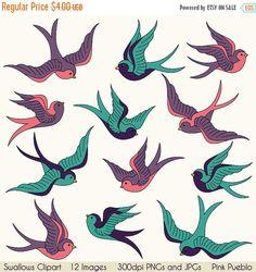 LABOR DAY SALE Swallows Clip Art Clipart, Birds Clipart Clip Art, Vintage…