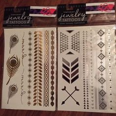 METALLIC JEWELRY TATTOOS Hard to find designs, listing includes pack of two - all designs shown here! Remove with easily with baby oil! Use as headband, cut into bindis, wear on fingers as ring bands, necklaces, or bracelets.. The possibilities are endless! Jewelry