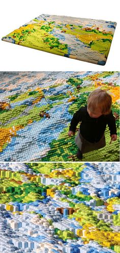 Rug with Landscape Relief (Colorful and friendly, this rug is made of tiny foam-bars, some bigger than the others, which give shape to a miniature landscape.)
