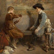 Roman Ribera Cirera (1849-1935), Kartenspieler, Öl, um 1890