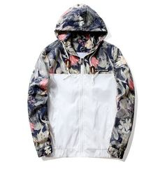 Floral Bomber Jacket Men Hip Hop Slim Fit Flowers Pilot Bomber Jacket Coat Men's Hooded Jackets Plus Size 4XL