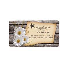 Rustic Country Daisy Wedding Return Address Labels