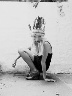 Zara Zip Back Bodycon Dress, H Oxford Heels, Yves Saint Laurent Mesh Tights Boho Gypsy, Hippie Boho, Bohemian, Feather Crown, Hippie Style, My Style, Gypsy Living, Oxford Heels, Headdress