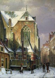 Scène d hiver à Amsterdam - (1) de Willem Koekkoek (1839-1895, Netherlands)