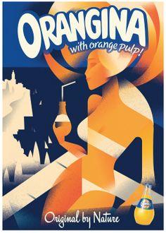 ORANGINA ADVERTISEMENT VINTAGE Retro Poster Art Print A4 SIZE Glossy Gift