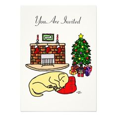 "Whimsical and cute Labrador Retriever Art created by Naomi Ochiai from Japan. An adorable Yellow Labrador is sleeping beside the Christmas Tree!   It's Christmas Eve.  Nice for dog lovers who love Yellow Labradors.  You can customize text and background color and more! <br> <a href=""http://www.zazzle.com/happylabradors/gifts?cg=196811834152819739""><img ..."