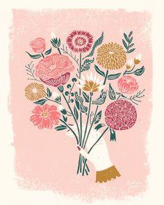linocut, illustration, bouquet, linocut illustration, printmaking, printmaker Andrea Lauren