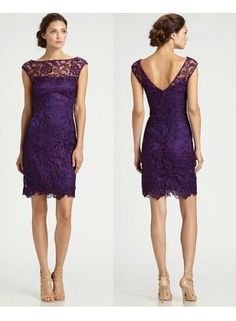 $169--Elegant Short Evening Dresses Bateau Backless Lace Purple Cap Sleeves Sheath Sexy Appliques Short Cocktail Gowns