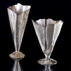 Michele Oka Doner, Artist, Palm Collection (Vase for Christofle), 2003, Sterling Silver, height: 13.7in. and 10.2 in