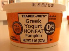 They have pumpkin yogurt ? Pumpkin Yogurt, Pumpkin Spice, Milk And Cheese, Yummy Food, Tasty, Whole Foods Market, Trader Joe's, Ben And Jerrys Ice Cream, Convenience Food
