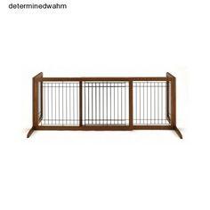 Freestanding Pet Gate Indoor Dog Wooden Adjustable Folding Safety Extra Wide