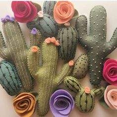 These felt cacti by @lunabeehive Painted Rock Cactus, Felt Garland, Cactus Art, Handmade Pillows, Felt Flowers, Fabric Flowers, Fabric Crafts, Sewing Crafts, Sewing Projects