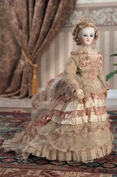 "Theriault's Antique Doll Auctions - 16"" French Bisque Smiling Poupee by Leon Casimir Bru - circa 1872"