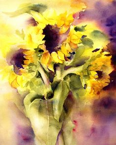 Sunflower bouquet-watercolor print-fine art giclee from watercolor painting by ConnieTownsArt-matted to Sunflower Nursery, Sunflower Art, Watercolor Sunflower, Watercolor Print, Watercolor Flowers, Watercolor Paintings, Sunflower Kitchen, Painting Prints, Art Prints