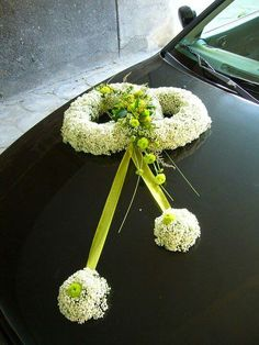 wedding car decoration with kermits and baby's breath