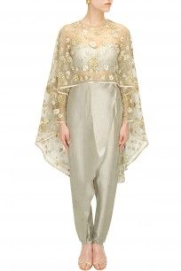 Pale grey rose embroidered cape with bustier and pants