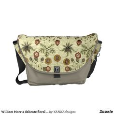 William Morris delicate floral pattern Courier Bag by @YANKA on the WEB #VintageFlowers #Vintage   #Floral #WilliamMorris