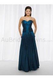 Taffeta Sweetheart Strapless Wrap Pleated Empire Bodice Ball Gown Bridesmaids Dress