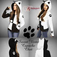 Sweat veste capuche chat www.Belldandy.fr #chat #kitty #kittyfashion #kittycat #sweatchat #capucheoreilles #oreilleschat #kawaii #sweatkawaii