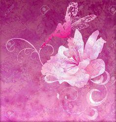 Pink Little Flower Fairy On The Dark Magenta Spring Or Summer ...