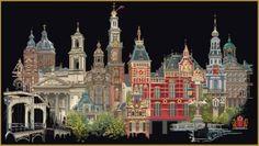 Borduurpakket Amsterdam Black Collection - Cross stitch Amsterdam