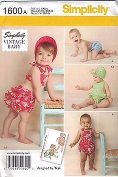 BRAND-NEW-Simplicity-1600-A-Vintage-Baby-Romper-Bloomers-Bonnet-Top-FREE-POST