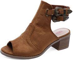 1186762f0d2 Dolcis Ladies Debra Tan Peep-Toe Cowboy Ankle Faux Suede Boot Shoes Sizes 3-
