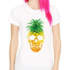 PINEAPPLE SKULL fruit funny food design hype hipster dope swag art pop white t-shirt LA QUIERO NOW