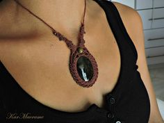 Obsidian macrame necklace\handmade micromacrame by KarMacrame on Etsy