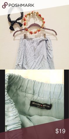 """Brandy Melville Pastel Blue Skirt Hii I'm selling this brandy skirt that I have worn only a few times! Looks completely brand new. I love Brandy & I hope you do too...! ♡  - One Size (more of size xs/small fit) ♡ - 13"""" across waist unstretched ♡ - 14.5"""" from top to bottom ♡ - Measurements are taken laying flat ♡ Brandy Melville Skirts Circle & Skater"""