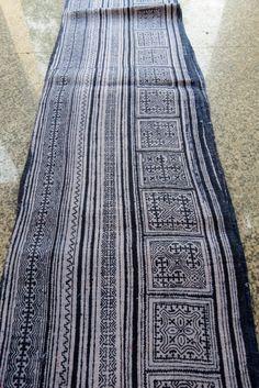 Handwoven batik  hemp, Hmong  Vintage textiles and fabric- from Thailand