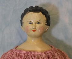 """C 1860 Antique 20"""" Wood Hand Carved Hand Painted German Doll Primitive Doll 