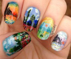 772a9d90aa Monet-inspired nail art - SlyNailArt Monet Tattoo, Monet Hair Products,  Flower Nail