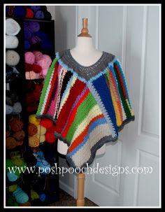 NEW CROCHET PONCHO: Scrap Happy Crochet Poncho. great for leftover yarn!