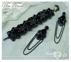 Black beadwork bracelet jewelry set bead embroidery with