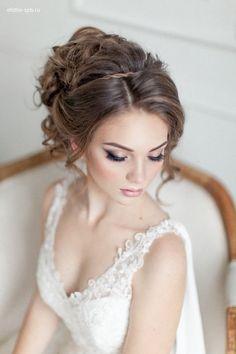 elegant wedding makeup and wedding updo hairstyle / http://www.deerpearlflowers.com/wedding-bridal-hairstyles-for-long-hair/