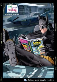 Batman reading what else? Batman! :-)  You don't get awesome just with super powers, you have to read too!