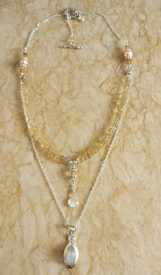 Rainbow Moonstone Ethiopian Fire Opal Pearl Sterling Silver Necklace Sundance #Handmade #Beaded
