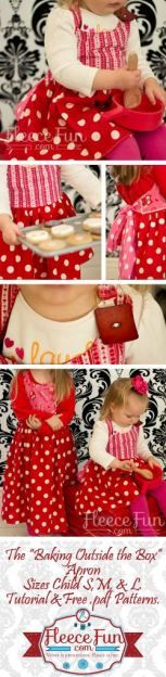 a couple of sweet heart aprons for making and delivering treats in!  Free pattern and video tutorial.