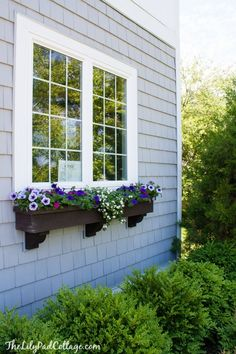 Summer Home Tour - The Lilypad Cottage Window Box Flowers, Window Boxes, Flower Boxes, French Country Exterior, Shingle Colors, Dining Room Blue, Lake Cottage, Coastal Cottage, Outdoor Spaces