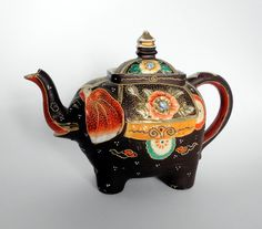 Antique Japanese Satsuma Elephant NOVELTY by EyeCandyandMore