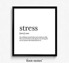 Stress definition, dictionary art print, dictionary art, office decor, minimalist poster, funny definition print, definition poster, quotes