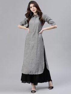 Buy Grey Rayon Straight Kurta by Gerua - Online shopping for Kurtas in India Plain Kurti Designs, Simple Kurta Designs, Kurta Designs Women, Fancy Dress Design, Stylish Dress Designs, Designs For Dresses, Stylish Sarees, Stylish Dresses, Fashion Dresses